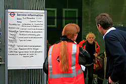 Man asks TFL staff for travel advice. © under license to London News Pictures. 03/11/2010.Tube Strike, RMT and TSSA members strike over job cuts and safety issues.