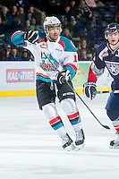 KELOWNA, CANADA - JANUARY 11: Tyrell Goulbourne #12 of the Kelowna Rockets skates on the ice against the Tri City Americans at the Kelowna Rockets on January 11, 2013 at Prospera Place in Kelowna, British Columbia, Canada (Photo by Marissa Baecker/Shoot the Breeze) *** Local Caption ***