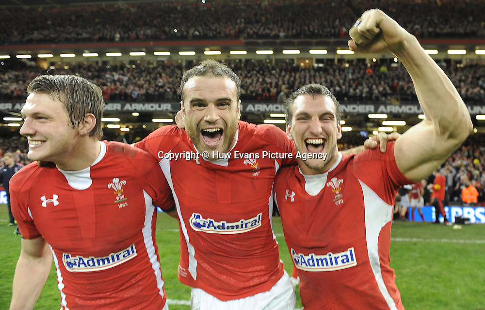 16.03.13 - Wales v England - RBS Six Nations 2013 -<br /> Dan Biggar, Jamie Roberts and Sam Warburton of Wales celebrate at the end of the game.<br />  &copy; Huw Evans Picture Agency