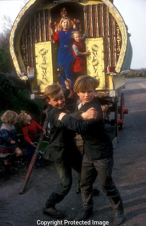Irish Tinker children with  caravans near Galway Ireland.