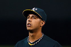June 28, 2011; Oakland, CA, USA; Oakland Athletics starting pitcher Gio Gonzalez (47) returns to the dugout during the eighth inning against the Florida Marlins at the O.co Coliseum.  Oakland defeated Florida 1-0.