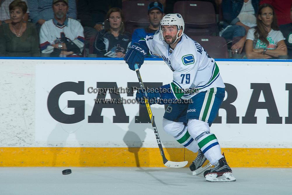 PENTICTON, CANADA - SEPTEMBER 8: Danny Moynihan #79 of Vancouver Canucks passes the puck against the Winnipeg Jets on September 8, 2017 at the South Okanagan Event Centre in Penticton, British Columbia, Canada.  (Photo by Marissa Baecker/Shoot the Breeze)  *** Local Caption ***