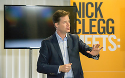 © Licensed to London News Pictures. 24/04/2014. Colchester, UK Deputy Prime Minister and Liberal Democrat Leader Nick Clegg holds a  public Q&A Meet Nick Clegg at Colchester United's Weston Homes Community Stadium. Photo credit : Stephen Simpson/LNP