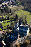 Nederland, Limburg, Gemeente Roerdalen, 07-03-2010; het dorp Sint Odilienberg, met Basiliek, voormalige abdijkerk in romaanse stijl, gelegen in het Roerdal.St Odilienberg village, with Basilica, former abbey church in Romanesque style, situated in the Roer valley..luchtfoto (toeslag), aerial photo (additional fee required).foto/photo Siebe Swart