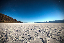 """Badwater Basin at Night 2"" - Predawn photograph of the Badwater Basin salt flat in Death Valley, California. The Milky Way can be seen in the sky."