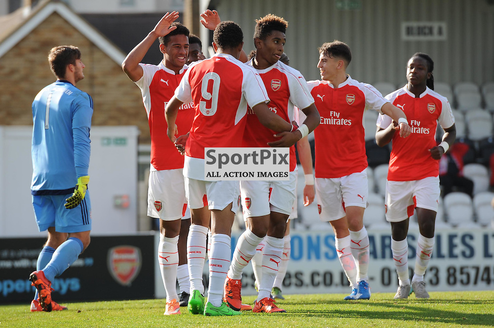 The Arsenal players celebrate Alex Iwobis second goal during the Arsenal u19 v Bayern Munich u19 match on Tuesday 20th October 2015 in the UEFA Youth League at Borehamwood