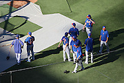 LOS ANGELES, CA - AUGUST 22:  The New York Mets get ready for batting practice before the game against the Los Angeles Dodgers at Dodger Stadium on Friday, August 22, 2014 in Los Angeles, California. The Dodgers won the game 6-2. (Photo by Paul Spinelli/MLB Photos via Getty Images)