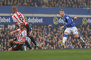 Everton midfielder Ross Barkley with a shot during the Barclays Premier League match between Everton and Sunderland at Goodison Park, Liverpool, England on 1 November 2015. Photo by Simon Davies.