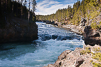Yellowstone River above the Brink of the Upper Falls.  Yellowstone National Park, Wyoming, USA.