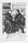 After the trials and tribulations of the story Adam Bede declares his love to Dinah Morris, the Methodist preacher.  'Adam Bede' by George Eliot, first published 1859. Illustration by William Small (1843-1929) from an edition published c1885.