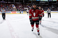 KELOWNA, BC - FEBRUARY 15: Arshdeep Bains #20 of the Red Deer Rebels skates to the bench to celebrate a goal against the Kelowna Rockets at Prospera Place on February 15, 2020 in Kelowna, Canada. (Photo by Marissa Baecker/Shoot the Breeze)