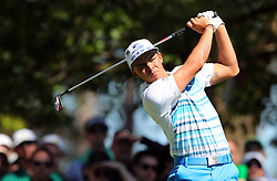 Rickie Fowler hits from the 4th tee during the third round of the Masters Tournament at Augusta National Golf Club in Augusta, Ga., on Saturday, April 8, 2017. (Photo by Curtis Compton/Atlanta Journal-Constitution/TNS) *** Please Use Credit from Credit Field ***
