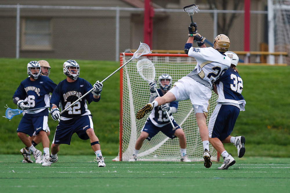 May 1, 2009:   #28 Zach Brenneman of Notre Dame shoot during the NCAA Lacrosse game between Notre Dame and Quinnipiac at GWLL Tournament in Birmingham, Michigan. (Credit Image: Rick Osentoski/Cal Sport Media)