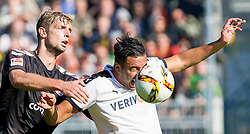 04.10.2015, Millerntor, Hamburg, GER, 2. FBL, FC St. Pauli vs SV 1916 Sandhausen, 10. Runde, im Bild Lasse Sobiech (Nr. 3, FC St. Pauli) gegen Aziz Bouhaddouz (Nr. 9, SV Sandhausen). FC St. Pauli vs SV Sandhausen, Fußball, 2. Bundesliga, 03.10.15 // during the 2nd German Bundesliga 10th round match between FC St. Pauli vs SV 1916 Sandhausen at the Millerntor in Hamburg, Germany on 2015/10/04. EXPA Pictures © 2015, PhotoCredit: EXPA/ Eibner-Pressefoto/ Koenig<br /> <br /> *****ATTENTION - OUT of GER*****