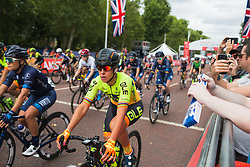 Marta Bastianelli (ITA) of Ale-Cipollini Cycling Team starts the Prudential RideLondon Classique - a 64.8 km road race, starting and finishing in central London on July 28, 2018, in London, United Kingdom. (Photo by Balint Hamvas/Velofocus.com)