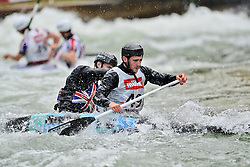 30.06.2013, Eiskanal, Augsburg, GER, ICF Kanuslalom Weltcup, Finale Kanu-Zweier Teams, Maenner. im Bild George TATCHELL (vorne) und Thomas QUINN (hinten) aus Grossbritannien, Finale, Team, Kanu, Canoe, C2, Teams, Herren, England // during the final of canoe double of the men kayak team of ICF Canoe Slalom World Cup at the ice track, Augsburg, Germany on 2013/06/30. EXPA Pictures © 2013, PhotoCredit: EXPA/ Eibner/ Matthias Merz<br /> <br /> ***** ATTENTION - OUT OF GER *****
