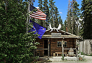 Traditional Athabascan cabin, Chena Indian Village, Alaska, USA