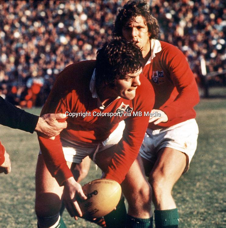 Fran Cotton (British Lions) Fergus Slattery (behind) British Lions v South Africa 3rd test 1974. Credit:Colorsport/Colorsport.