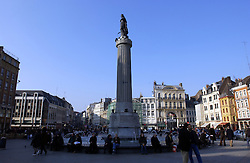 LILLE , FRANCE - FEB-22-2003 - Lille , France has been named the 2004 European Capital of Culture. Grand Place - ïDeesse de Lille' (column) on ïPlace du General Ch. de Gaulle' - Lille Towers Squares (PHOTO © JOCK FISTICK)..