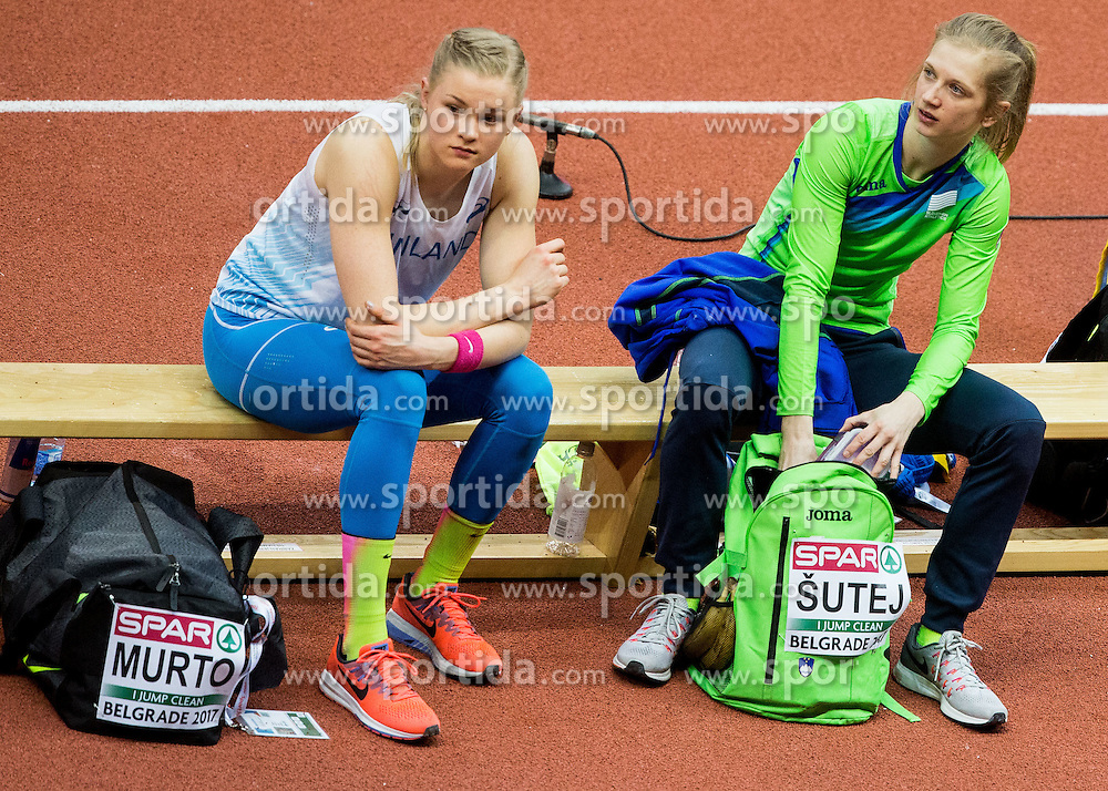 Wilma Murto of Finland and Tina Sutej of Slovenia during the Pole Vault Women Final on day two of the 2017 European Athletics Indoor Championships at the Kombank Arena on March 4, 2017 in Belgrade, Serbia. Photo by Vid Ponikvar / Sportida