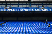 Banner to former West Ham United FC and Chelsea FC player Frankie Lampard, now Manager at Derby County FC in the North Stand at Stamford Bridge ahead of the Premier League match between Chelsea and West Ham United at Stamford Bridge, London, England on 8 April 2019.