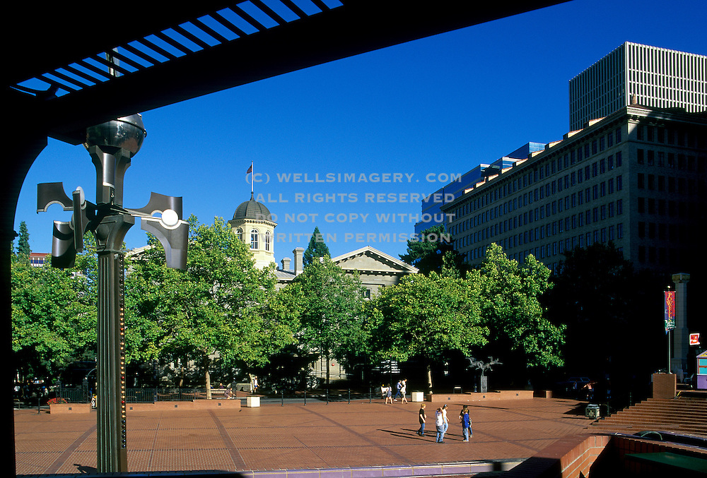 Image of Pioneer Courthouse Square in downtown Portland, Oregon, Pacific Northwest
