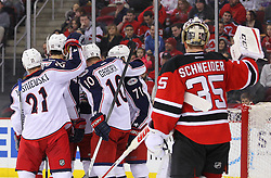 Feb 27, 2014; Newark, NJ, USA; The Columbus Blue Jackets celebrate a goal by Columbus Blue Jackets right wing Marian Gaborik (10) during the second period of their game against the New Jersey Devils at Prudential Center.