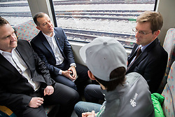 Dusan Mes, Enzo Smrekar, Miro Cerar, prime minister of Slovenia and Peter Prevc during driving of Slovenian National Ski jumping Team from Ljubljana by train to the FIS World Cup Ski Jumping Final Planica 2016, on March 16, 2016 in  Slovenia. Photo by Vid Ponikvar / Sportida