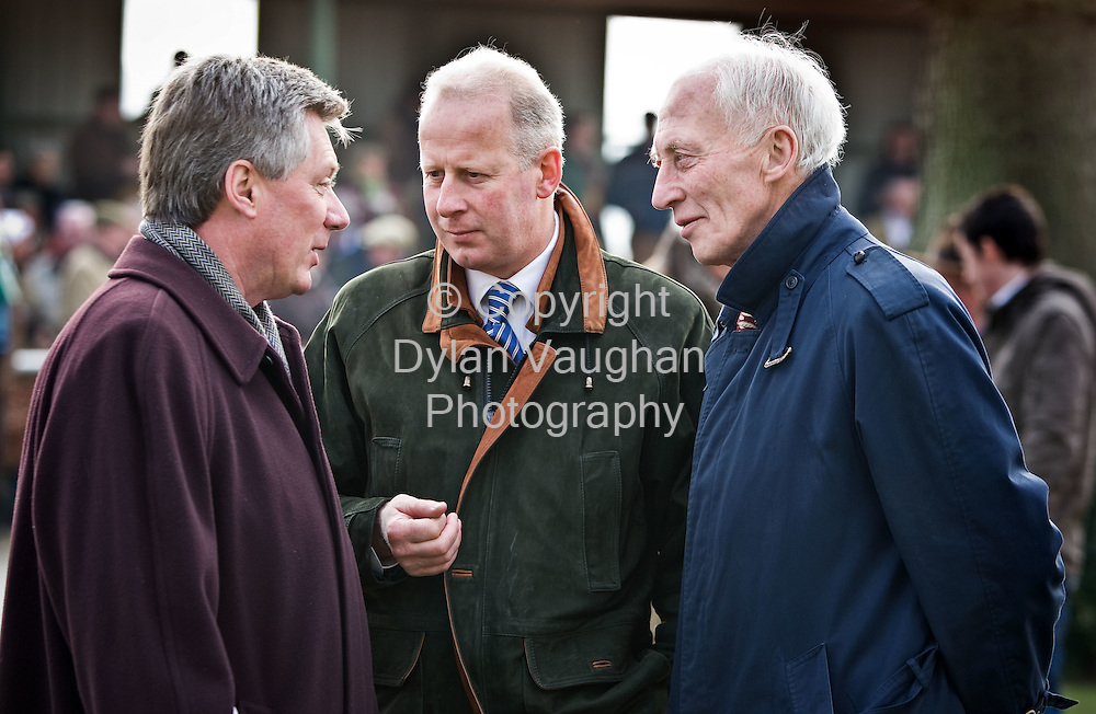 16/2/2008.Free Picture no charge for use.Pictured at the Connolly's Red Mills race day at Gowran Park on Saturday was Joe Connolly, Tom Taffe, Kicking King's trainer and Tom Carroll..Picture Dylan Vaughan.