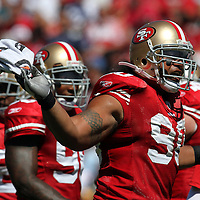 San Francisco 49ers nose tackle Isaac Sopoaga (90) during an NFL football game between the Dallas Cowboys and the San Francisco 49ers at Candlestick Park on Sunday, Sept. 18, 2011 in San Francisco, CA.   (Photo/Alex Menendez)