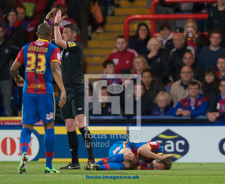 Picture by Alan Stanford/Focus Images Ltd +44 7915 056117.10/05/2013.Glen Murray of Crystal Palace gets a injury which results in him being taken off by stretcher  during the npower Championship play off semi final first leg match at Selhurst Park, London.