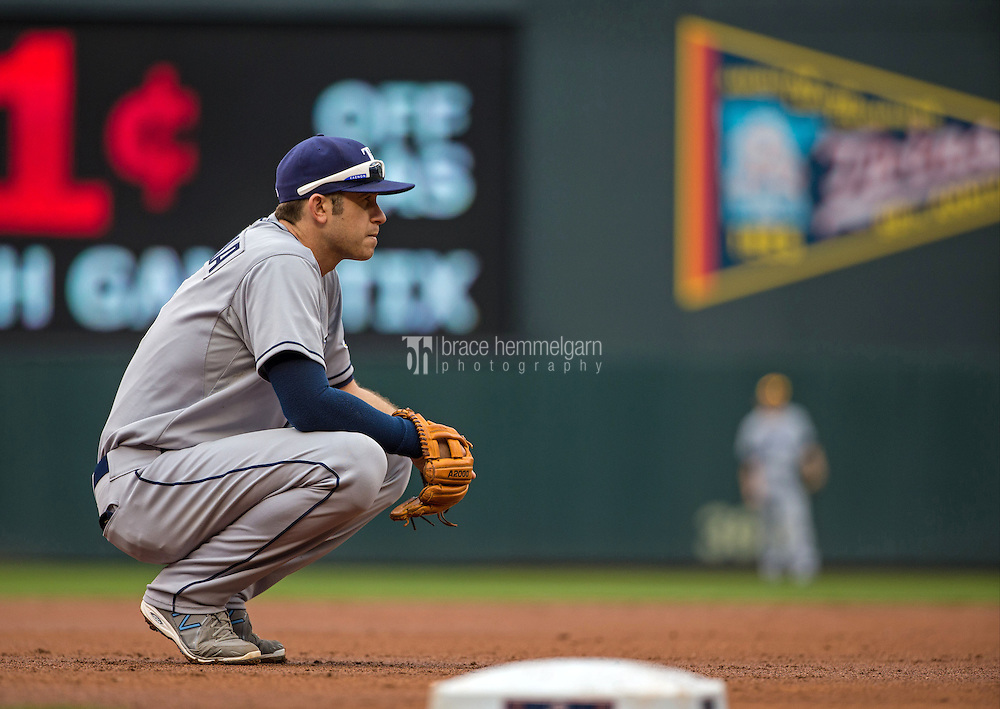 MINNEAPOLIS, MN- MAY 16: Evan Longoria #3 of the Tampa Bay Rays looks on against the Minnesota Twins on May 16, 2015 at Target Field in Minneapolis, Minnesota. The Twins defeated the Rays 6-4. (Photo by Brace Hemmelgarn) *** Local Caption *** Evan Longoria