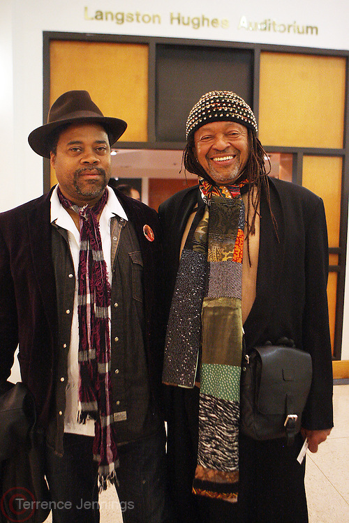 20 November 2010- Harlem, New York- Greg Tate and Quincy Troupe at The Schomburg Center as part of ' Bad Mutha...Shut Yo Mouth: The Black Rock Coalition Orchestra Hits the Blaxploitation Soundtrack presented by the Black Rock Coalition Orchestra held at the Schromburg Center on November 20, 2010 in Harlem, USA. Photo Credit: Terrence Jennings