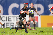 Hong Kong player Matt Rosalie passes the ball in the second half during the Rugby World Cup qualifier between Hong Kong and Canada at Stade Delort, Marseilles, France on 23 November 2018. Picture by Ian  Muir.