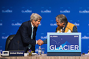 August 31, 2015: Mr. Lee Stephan, Tribal Chief from Eklutna, greets United States Secretary of State John Kerry during the opening plenary of the Global Leadership in the Arctic Cooperation, Innovation, Engagement & Resilience conference.