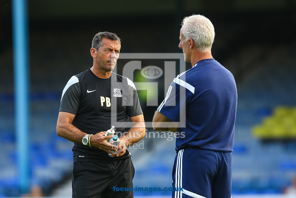Southend United manager Phil Brown and Ipswich Town manager Mick McCarthy talk prior to the pre season friendly match at Roots Hall, Southend<br /> Picture by Daniel Chesterton/Focus Images Ltd +44 7966 018899<br /> 29/07/2014