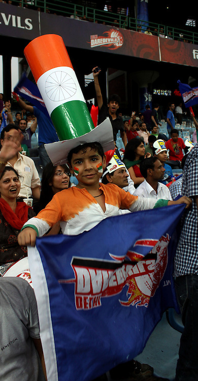 A kid fan of Delhi Daredevils during match 68 of the Indian Premier League ( IPL ) Season 4 between the Delhi Daredevils and the Pune Warriors India held at the Feroz Shah Kotla Stadium in Delhi, India on the 21st May 2011..Photo by Sandeep Shetty/BCCI/SPORTZPICS.