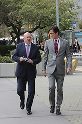 October 13, 2017 - New York, NY, USA - United Nations, New York, USA, October 13 2017 -Permanent Representative of Russia to the United Nations Vasily Alekseevich Nebenzya (Left) with Kai Sauer (R), Permanent Representative of Finland to the UN on there way to a meeting today at the UN Headquarters in New York City..Photo: Luiz Rampelotto/EuropaNewswire (Credit Image: © Luiz Rampelotto via ZUMA Wire)
