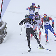 Andrew Newell, USA, (front) in action during the Men Sprint Free during the Cross Country Sprint Competition at Snow Farm, New Zealand during the Winter Games. Wanaka, New Zealand, 14th August 2011. Photo Tim Clayton