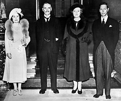 Mr and Mrs Neville Chamberlain with King George VI and Queen Elizabeth at Buckingham Palace after Chamberlain's Munich visit.