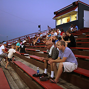 As daylight turns to dusk, the press box at Municipal Stadium in Clarinda takes on a glow.  photo by David Peterson