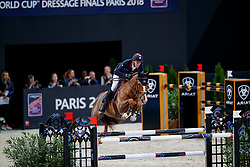 STAUT Kevin (FRA), Reveur de Hurtebise HDC<br /> Paris - FEI World Cup Finals 2018<br /> Longines FEI World Cup Jumping Final I<br /> www.sportfotos-lafrentz.de/Stefan Lafrentz<br /> 12. April 2018