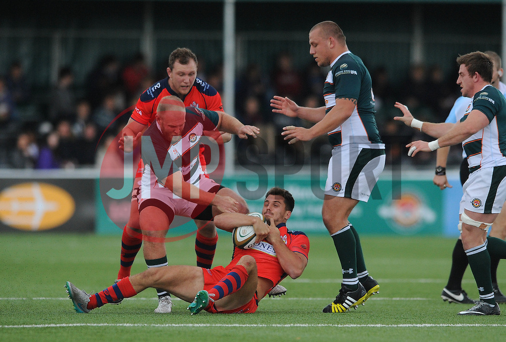 Bristol Rugby Full Back Jack Wallace is forced to the floor - Mandatory byline: Dougie Allward/JMP - 07966386802 - 10/10/2015 - RUGBY - Vallis Way -West Ealing,England - Ealing Trailfinders v Bristol Rugby - Greene King IPA Championship