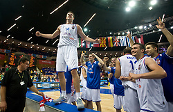Novica Velickovic of Serbia and Players of Serbia celebrate after the EuroBasket 2009 Semi-final match between Slovenia and Serbia, on September 19, 2009, in Arena Spodek, Katowice, Poland. Serbia won after overtime 96:92.  (Photo by Vid Ponikvar / Sportida)