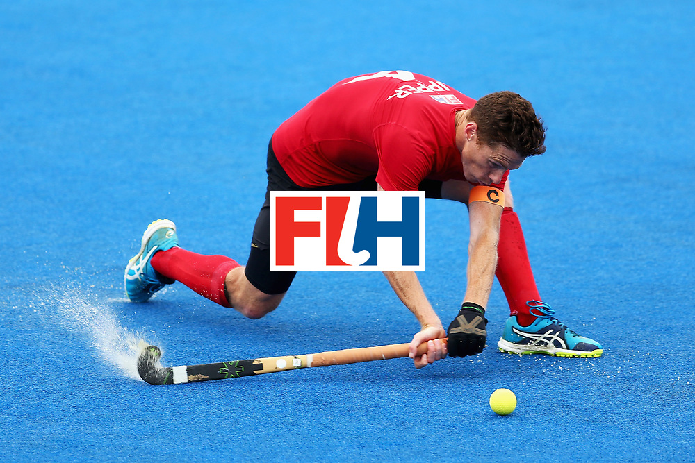 LONDON, ENGLAND - JUNE 24:  Tupper Scott of Canada in action during the 5th-8th place match between Canada and China on day eight of the Hero Hockey World League Semi-Final at Lee Valley Hockey and Tennis Centre on June 24, 2017 in London, England.  (Photo by Steve Bardens/Getty Images)