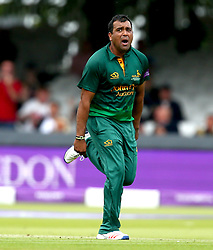 Samit Patel of Nottinghamshire celebrates taking the wicket of Ollie Pope of Surrey - Mandatory by-line: Robbie Stephenson/JMP - 01/07/2017 - CRICKET - Lord's Cricket Ground - London, United Kingdom - Nottinghamshire v Surrey - Royal London One-Day Cup Final 2017