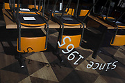 With the UK death toll reaching 34,813, with a further 541 victims in the last 24hrs, the government's pandemic lockdown has eased to another stage and the seats of a closed restaurant are still stacked on tables in the City of London, the capital's financial district, on 1st June 2020, in London, England.