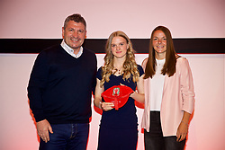 NEWPORT, WALES - Saturday, May 19, 2018: Ffion Spence is presented with her Under-16's cap by Osian Roberts (left) and Lauren Dykes (right) during the Football Association of Wales Under-16's Caps Presentation at the Celtic Manor Resort. (Pic by David Rawcliffe/Propaganda)