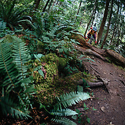 Heather Goodrich heads over the bars in the Pacific Northwest Rainforest near Anacortes, Washington.