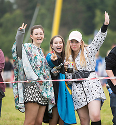 People queue for entry to the main site. Friday, 10th July 2015, First day at T in the Park 2015, at its new home at Strathallan Castle.